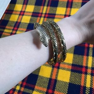 Vintage Whiting & Davis Gold Wrap Snake Bracelet